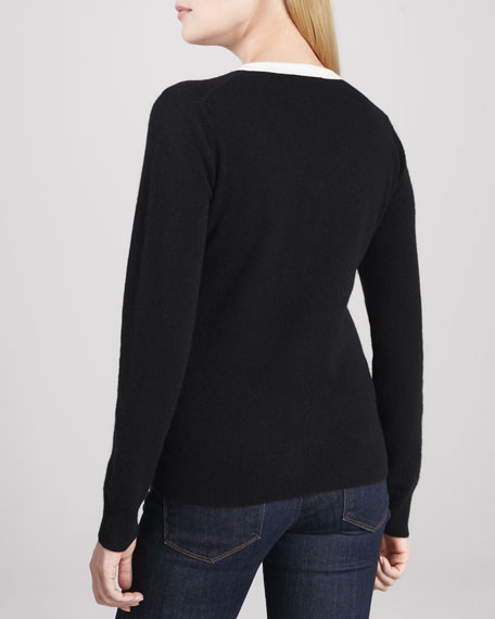 Contrast V-Neck Cashmere Sweater