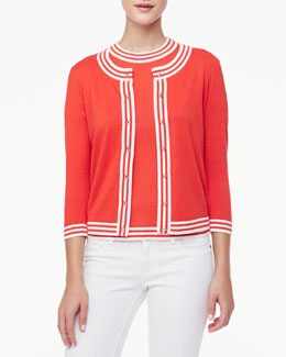 kate spade new york anabella striped-trim cardigan