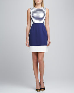 kate spade new york sarita jewel-neck sleeveless combo dress