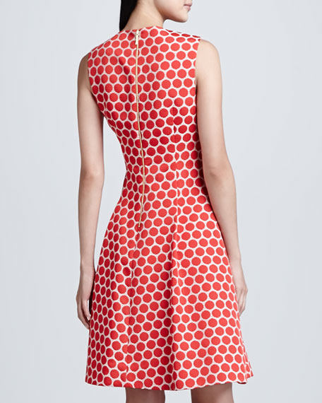 cory jewel-neck dot flare dress