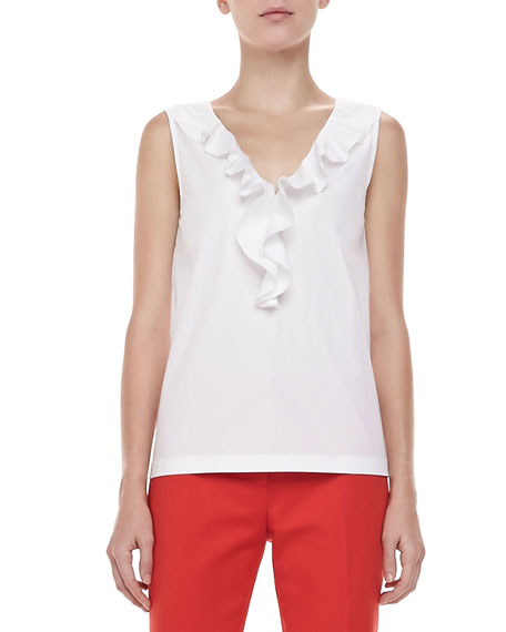 beckie sleeveless ruffle-front blouse