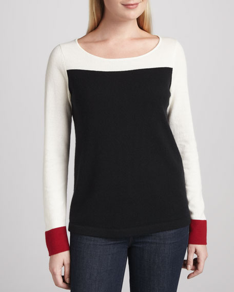 Colorblock-Cuff Cashmere Sweater