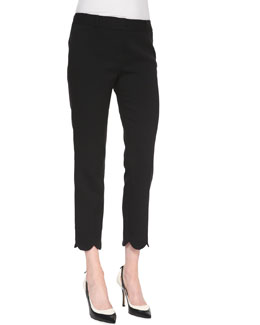 kate spade new york jackie scalloped capri pants