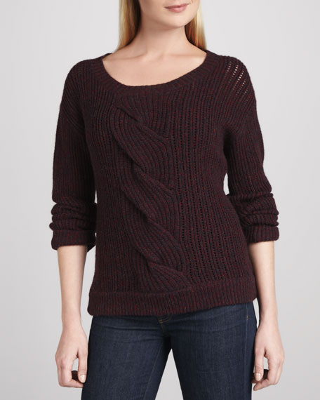 Twisted Cable Tweed Cashmere Sweater
