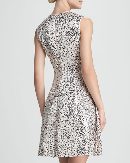 emma sequined fit-&-flare dress