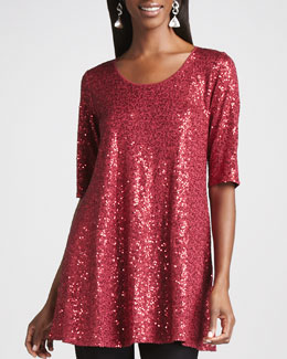 Eileen Fisher Long Sequined Tunic, Petite