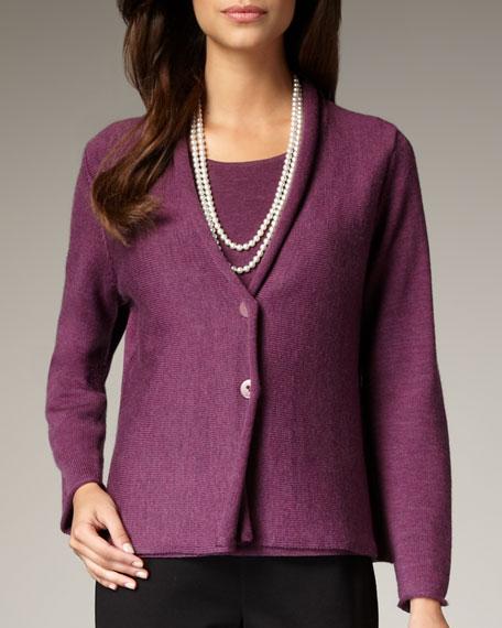 Washable-Wool Ribbed Jacket, Petite