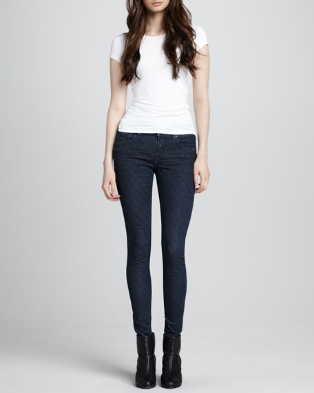 New York Diamond-Stitched Skinny Jeans, Dark