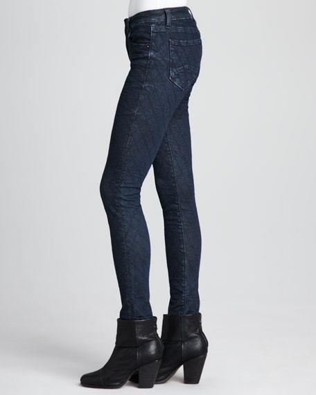 New York Diamond-Stitched Skinny Jeans, Dark