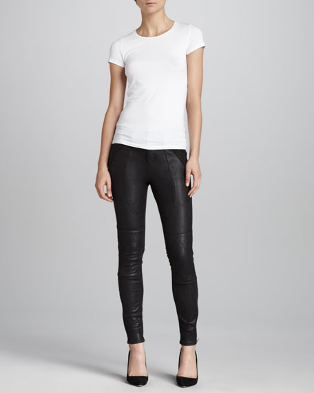 Elle Faux-Leather Moto Jeans