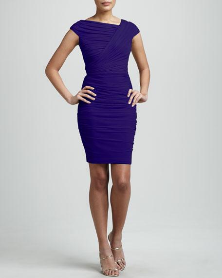 Asymmetric-Neck Ruched Dress