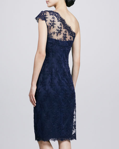 One-Shoulder Lace Cocktail Dress, Navy