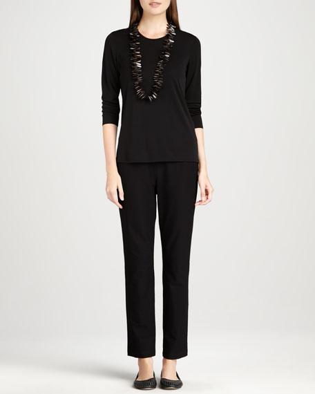 Knit Side-Zip Ankle Pants