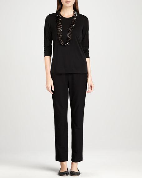Knit Side-Zip Ankle Pants, Petite