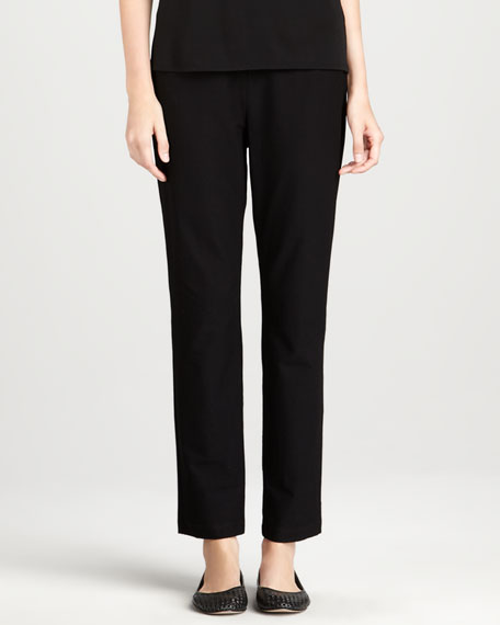 Knit Side-Zip Ankle Pants, Petite
