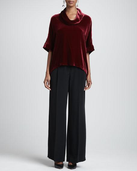 Crepe-de-Chine Wide-Leg Pants, Women's