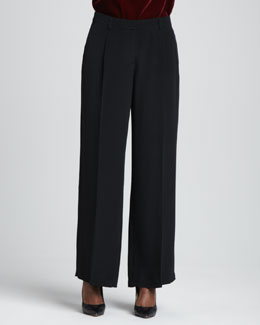 Eileen Fisher Crepe-de-Chine Wide-Leg Pants, Women's