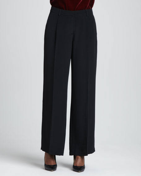 Crepe-de-Chine Wide-Leg Pants, Women's