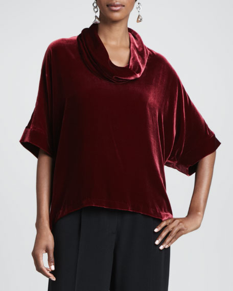 Velvet Cowl-Neck Top, Women's