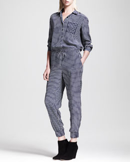 Theory Daranda Cross-Grid Silk Jumper