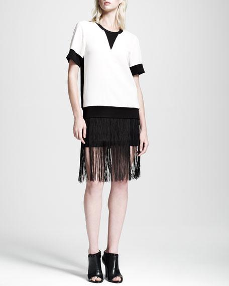 Corina Fringe-Overlay Skirt