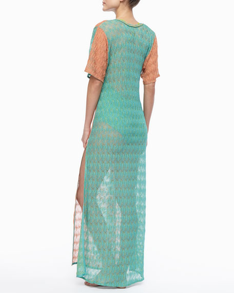 Long Patterned Coverup Dress