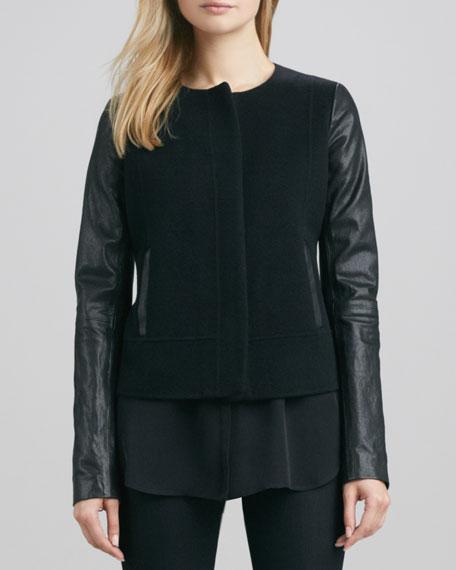 Leather-Sleeve Short Wool Jacket, Black
