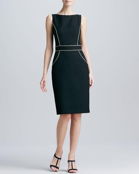 Sleeveless Jewel-Neck Piping Dress