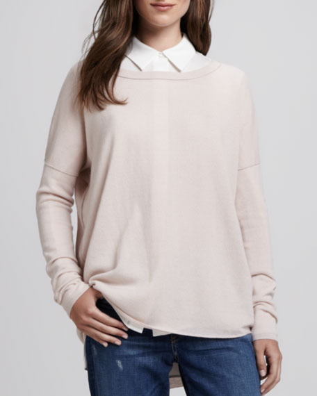 Boat-Neck Cashmere Sweater, New Buff
