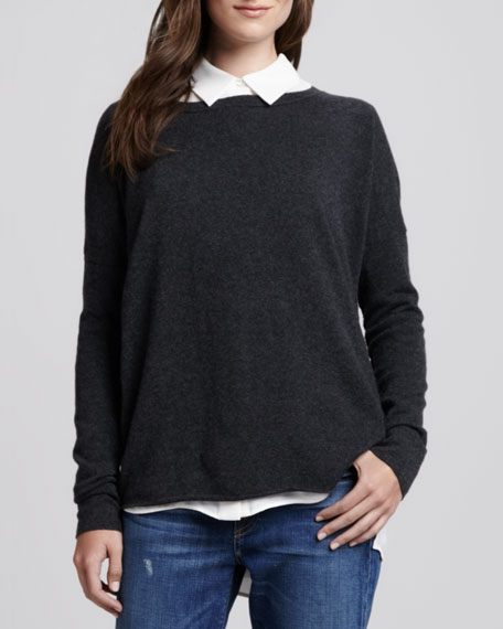 Boat-Neck Cashmere Sweater, Carbon