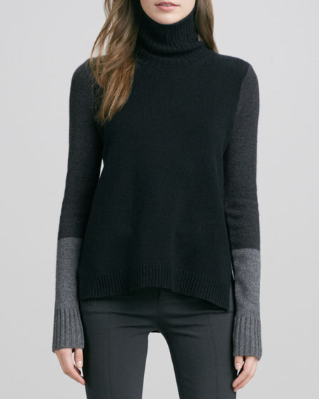 Tri-Color Wool/Cashmere Sweater, Black Combo