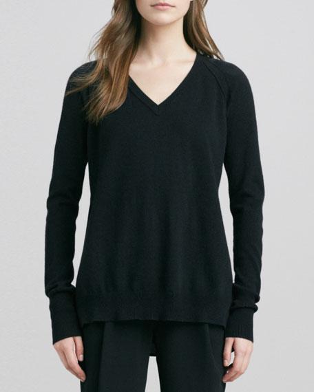 V-Neck Sweater with Raglan Sleeves, Black