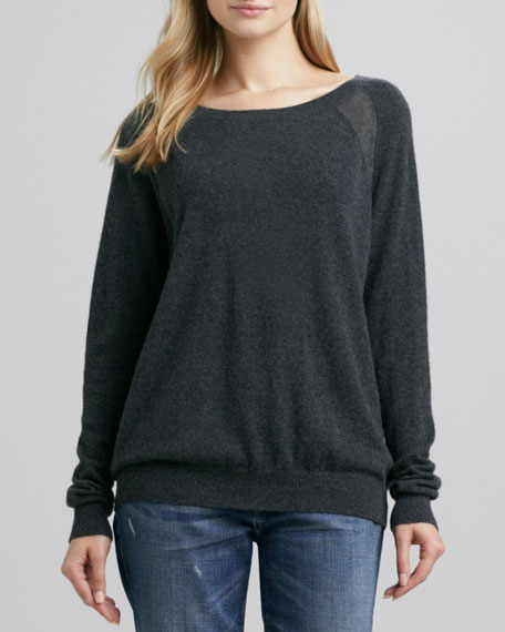 Raglan-Sleeve Cashmere Sweater, Carbon