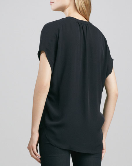 Cap-Sleeve Placket Silk Blouse, Black