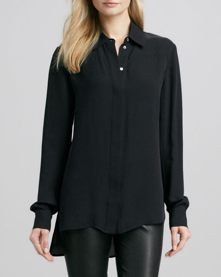 Button-Down Silk Blouse, Black