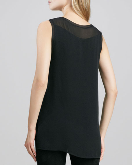 Sheer Silk Tank, Black