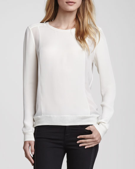 Sheer-Side-Panel Top, Ivory