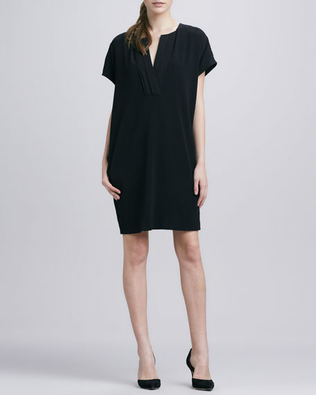 Split-Neck Oversize Dress