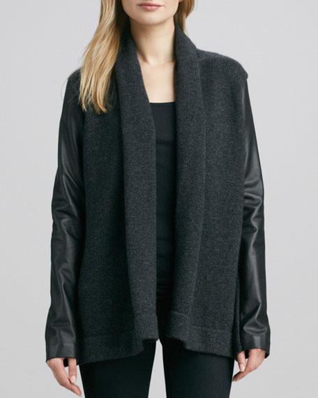 Leather-Sleeve Knit Jacket, Dark Slate