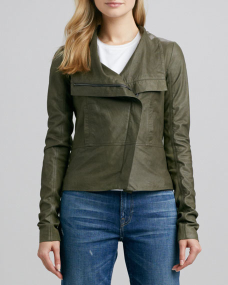 Asymmetric Leather Jacket, Olive