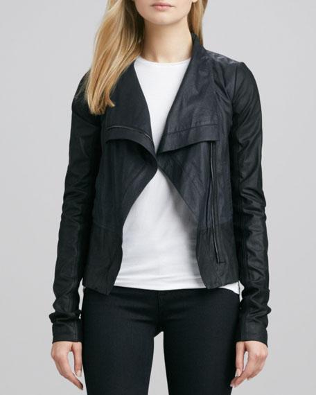 Colorblock Asymmetric Leather Jacket, Coastal/Black