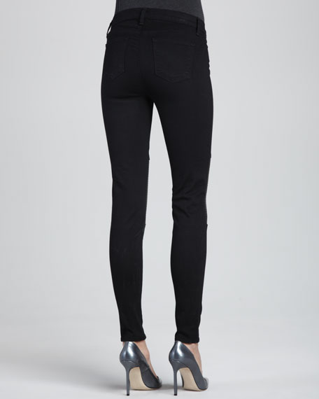 Nicola Hewson Leather-Panel Skinny Jeans