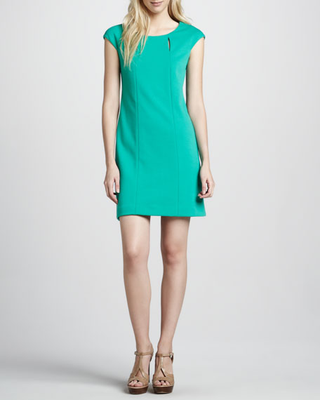 Knit Cap-Sleeve Seam Dress