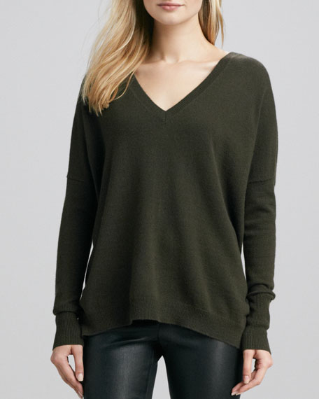 Relaxed V-Neck Cashmere Sweater, Military Green