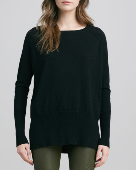 Cashmere Square-Neck Long-Sleeve Sweater, Black
