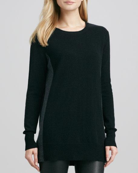 Bicolor Crewneck Cashmere Sweater, Black/Carbon