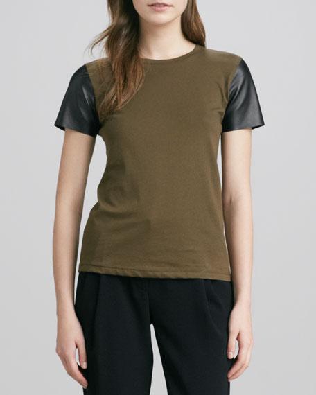 Short-Leather-Sleeve Tee, Olive