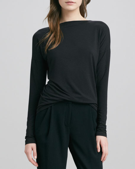 Boat-Neck Long-Sleeve Tee, Black