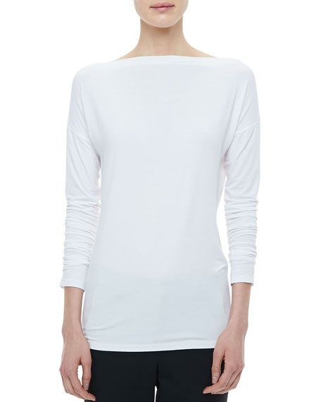 Boat-Neck Long-Sleeve Tee, White