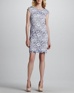 Phoebe by Kay Unger Sleeveless Triangle-Back Lace Dress